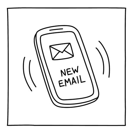 Doodle NEW MAIL mobile phone icon hand drawn with thin line. Vector illustration isolated on white background Ilustração
