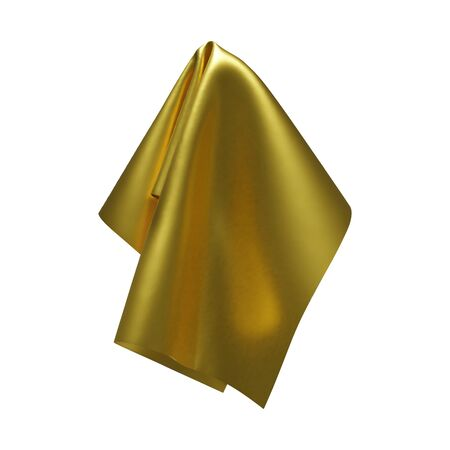 Golden shiny fabric, handkerchief or tablecloth hanging, isolated on white background. Vector illustration Ilustração