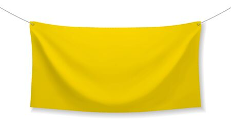 Yellow fabric banner with folds and transparent shadow isolated on white background. Blank hanging textile template. Empty mockup. Vector illustration