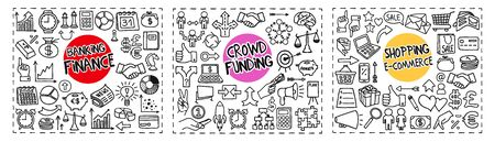 Finance and Banking, Crowd Funding and Shopping and e-Commerce doodle icons set