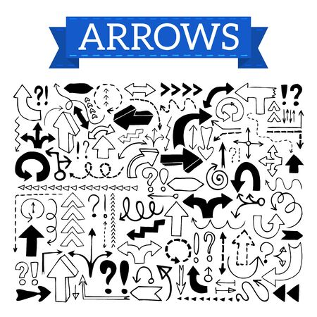 Doodle arrows, exclamation signs and question marks