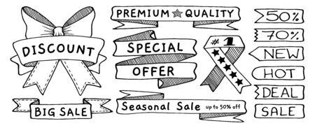 Doodle banners, flags, ribbons and tags set, hand drawn with thin line
