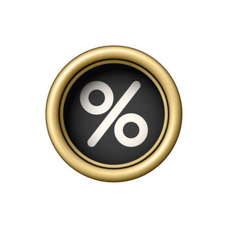 Percent Symbol on a vintage golden typewriter button. Ilustración de vector