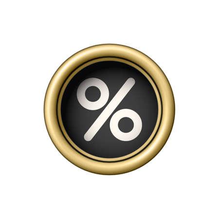 Percent Symbol on a vintage golden typewriter button. Ilustração Vetorial