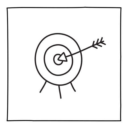 Doodle target icon or logo, hand drawn with thin black line.