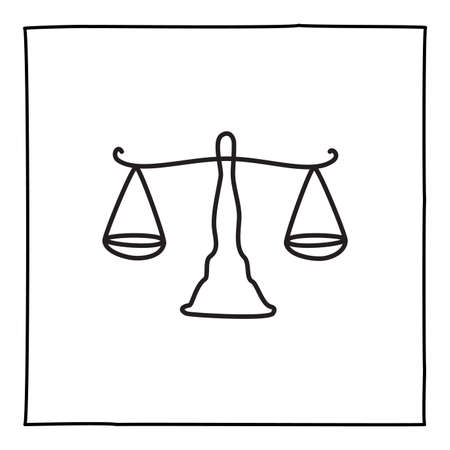 Doodle scale icon or logo, hand drawn with thin black line Ilustração