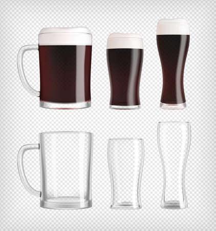 Three different dark beer glasses and mugs