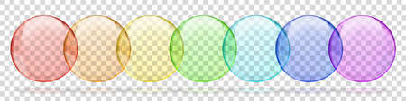 Collection of rainbow colored transparent round bubbles