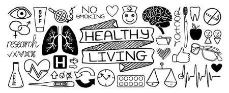 Medical doodles set of icons isolated on white background