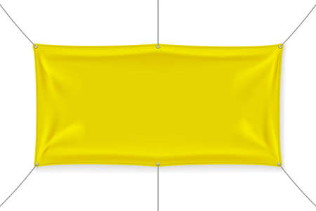 Yellow textile banners with folds isolated on white background