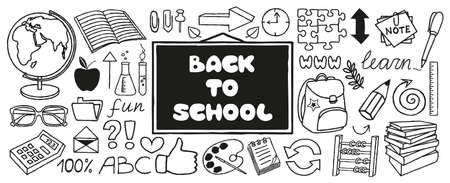 Back to School doodles banner, hand drawn with thin line