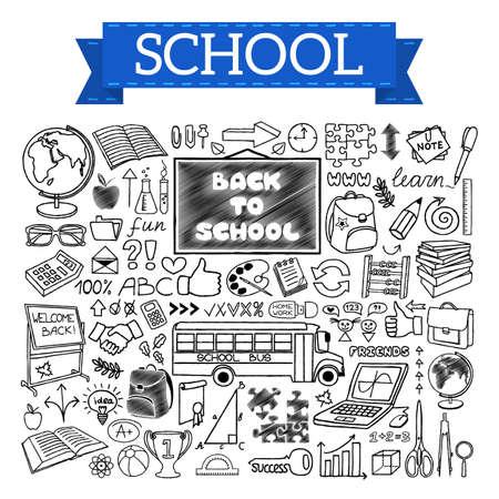 Back to School doodles hand drawn with thin line Ilustração