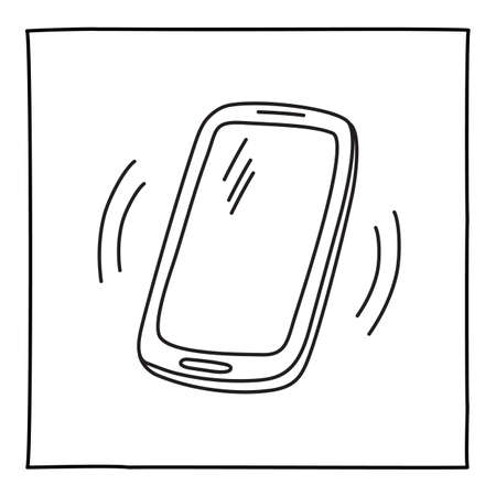 Doodle ringing mobile phone icon hand drawn with thin line Ilustração