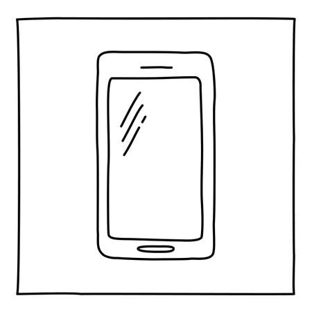 Doodle mobile phone icon hand drawn with thin line