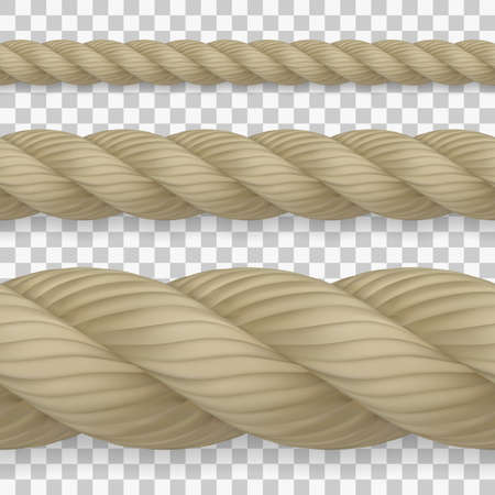 Set of seamless realistic hemp ropes with high detail