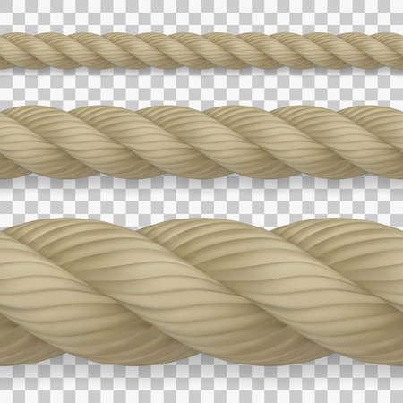 Set of seamless realistic hemp ropes with high detail Ilustração