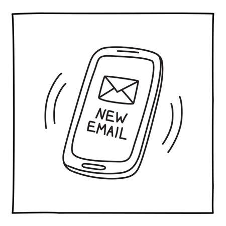Doodle NEW MAIL mobile phone icon hand drawn with thin line Ilustração