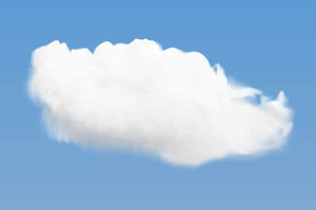 Realistic white cloud flying on blue sky background