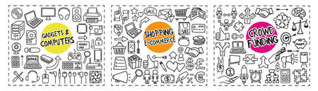 Gadgets and Computers, Shopping and Crowd Funding doodle icons set 向量圖像