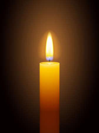 Realistic burning yellow candle on dark background