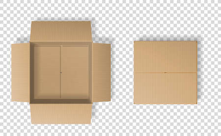 Realistic cardboard box set, opened and closed top view Vector Illustratie