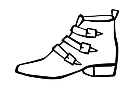 Doodle fashion cowboy boot hand drawn in line art style