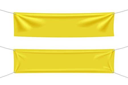 Yellow textile banners with folds, blank hanging fabric template. Empty mockup. Vector illustration isolated on white background