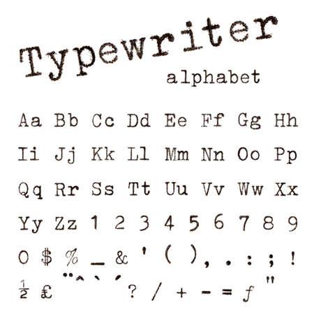 Typewriter alphabet. Macro photograph of typewriter letters isolated on white.
