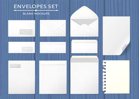 Blank envelopes in 3 views, back and front closed and open. Two paper mock ups, with curled corner and torn side. Photo-realistic vector illustration.