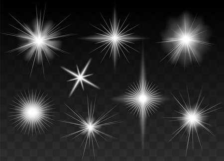 Glowing stars, sparkles, light flashes, shiny glitter set. Black half transparent background. Graphic elements for Christmas and birthday cards and invitations. Adds luxurious feel to your designs.