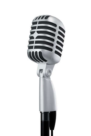 Realistic microphone metallic vintage style isolated on white background