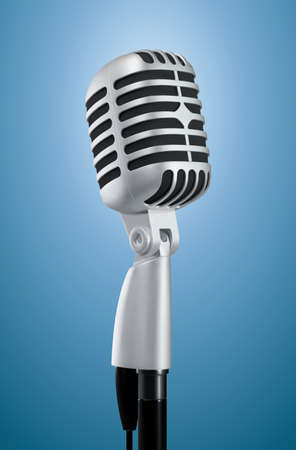 Realistic microphone metallic vintage style on blue lit background