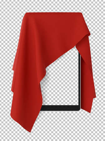 Red fabric covering a blank portable tablet pad gadget,. Consept of new release, unveiling, presenting next generation tech, Vector illustraion, isolated on white