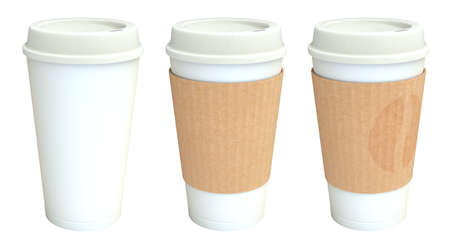 Blank white takeaway coffee cups set with cover 3D illustration