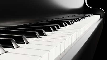 Piano keyboard close up view 3D illustration Standard-Bild