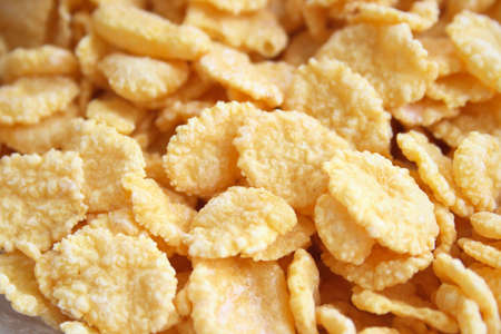 On a photo corn-flakes. A photo close up photo