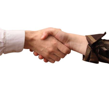 handshake, isolated on  white background Stock Photo