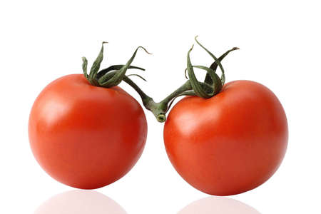 Two tomatoes. isolated photo