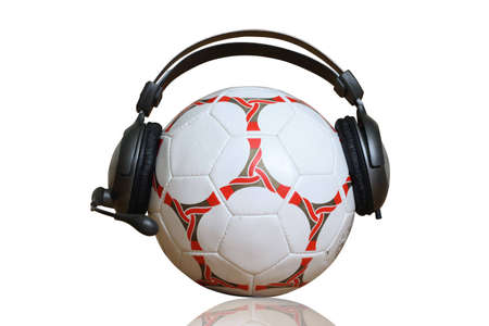 ball and earphones on white background