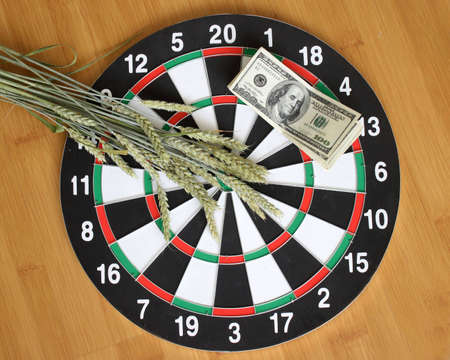 Board for darts on her ear of the wheat and pack of the dollars photo