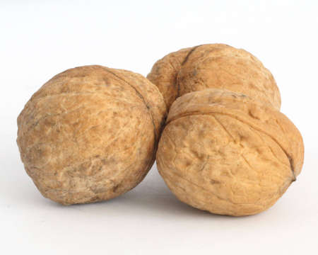 three walnuts on white background photo