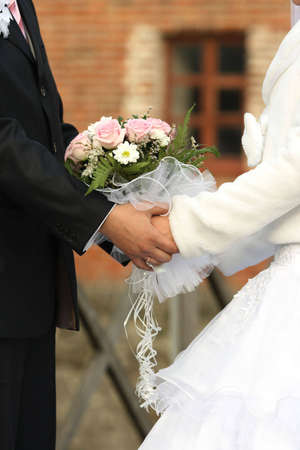 Bride, Groom and Bouquet photo