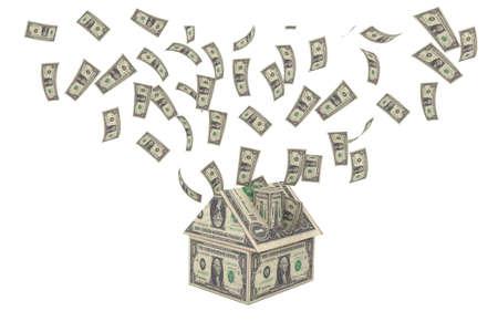 house with money and money rain