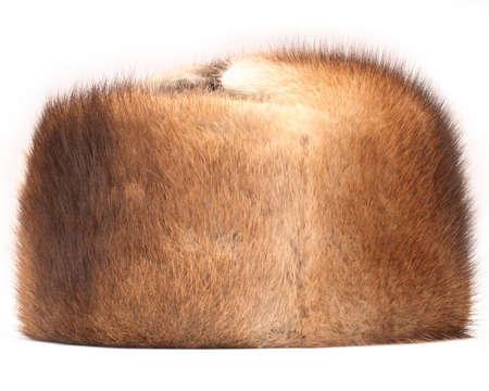 mink: visone cappello su sfondo bianco