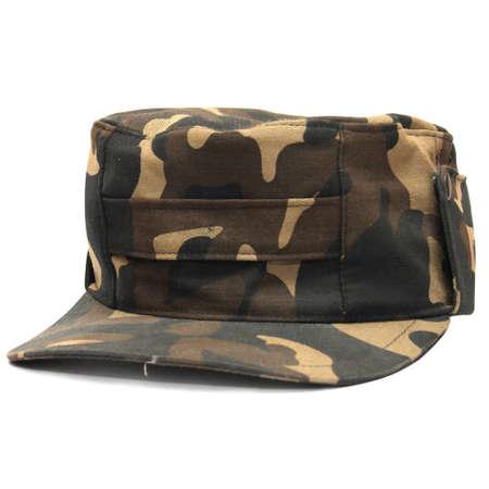 military camouflage cap on white background Stock Photo