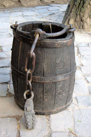 wooden barrel for a well photo