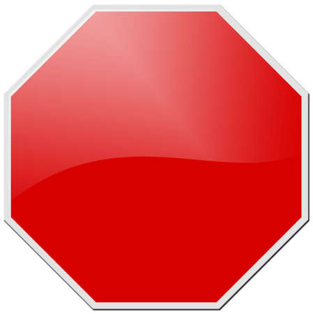 octagon:  red stop signal isolated on white  Stock Photo