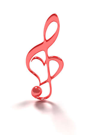 Treble clef isolated on white for valentines day  Stock Photo