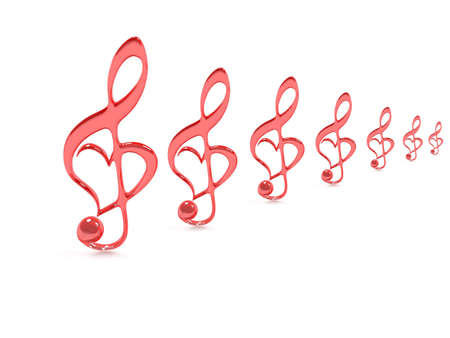 melodies: Treble clef isolated on white for valentines day
