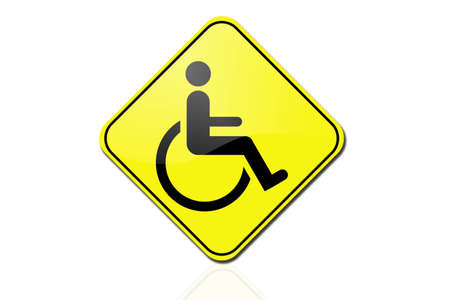 Disabled person warning road sign  photo
